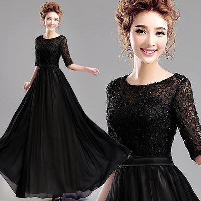 大小姐時尚精品屋~~黑色蕾絲長禮服~3件免郵