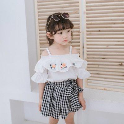 【Mr. Soar】 F264 夏季新款 韓國style童裝女童短袖上衣+短裙套裝 現貨