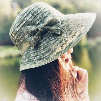 日系 造型帽 淑女帽 漁夫帽 遮陽帽 寬沿帽 天然亞麻 透氣-可調頭圍|限時免運|網美造型穿搭|折疊收納(橄欖綠)