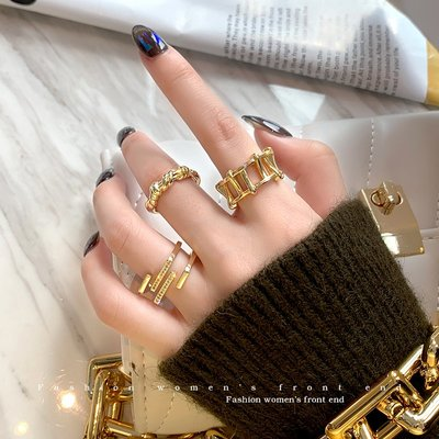 小琳飾品~LACELIPS 歐美輕奢幾何設計珍珠戒指女ins潮網紅時尚冷淡風指環女