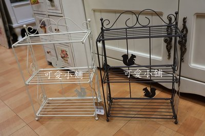 ( 台中 可愛小舖 )日式簡約鄉村風黑白松鼠剪影曲線簍空可收納二層架分類架小物架置物架展示架雜物架桌上架