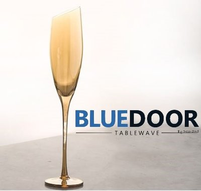 BlueD_水晶玻璃 無鉛 高腳杯 斜口 香檳杯 燻黑 電鍍金 琥珀色 金色 黑色 漸層 奢華 創意造型設計裝潢 紅酒杯