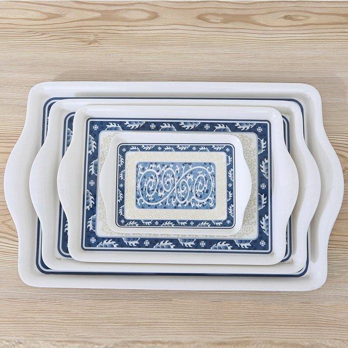 簡約創意長方形托盤塑料日式餐盤家用水盃套裝茶盤帶柄加厚小盤子