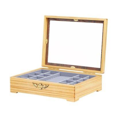 5Cgo【鴿樓】會員有優惠 521951231967 高檔木質單層首飾盒珠寶首飾整理收納盒收納箱歐式複古 首飾盒