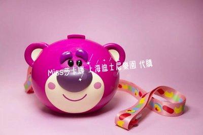 Miss莎卡娜代購【上海迪士尼樂園】﹝預購﹞玩具總動員 草莓熊抱哥 Q版熊頭 背帶爆米花桶 零食收納桶