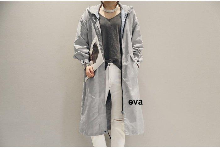 EVA精緻坊【韓國衣飾】【N9 連帽簡約長風衣】現貨二色