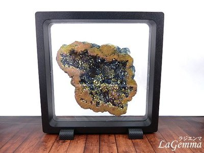 【寶峻水晶】新品~最新穎的時尚居家裝飾【漂浮寶石相框】五彩色星彩晶洞 FF-11 方形黑色相框可打開更換