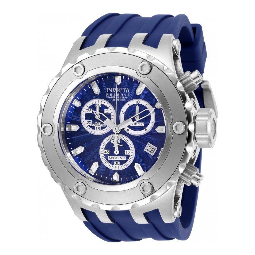 瑞士製 Invicta 英威塔人氣款1.7折! Subaqua 52mm 藍銀三眼手錶男錶潛水錶27821全新真品