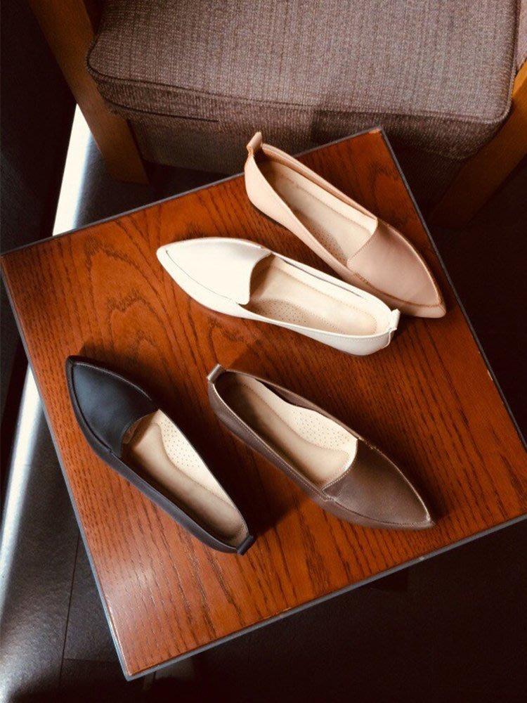 KA04-2女孩的讀心說 軟皮尖頭鞋 丹妮鞋屋  台灣真皮手工鞋