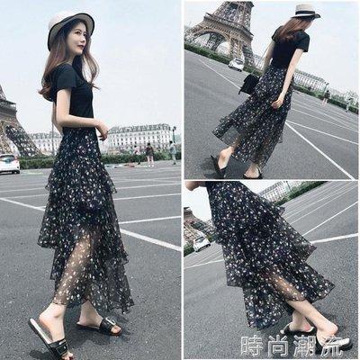 ZIHOPE 短袖套裝碎花雪紡長裙春夏時尚兩件女韓版INS超火蛋糕洋裝ZI812