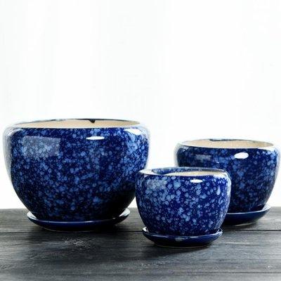 花盆 陶瓷家用大號特大帶托盤簡約吊蘭創意綠蘿小多肉花盆