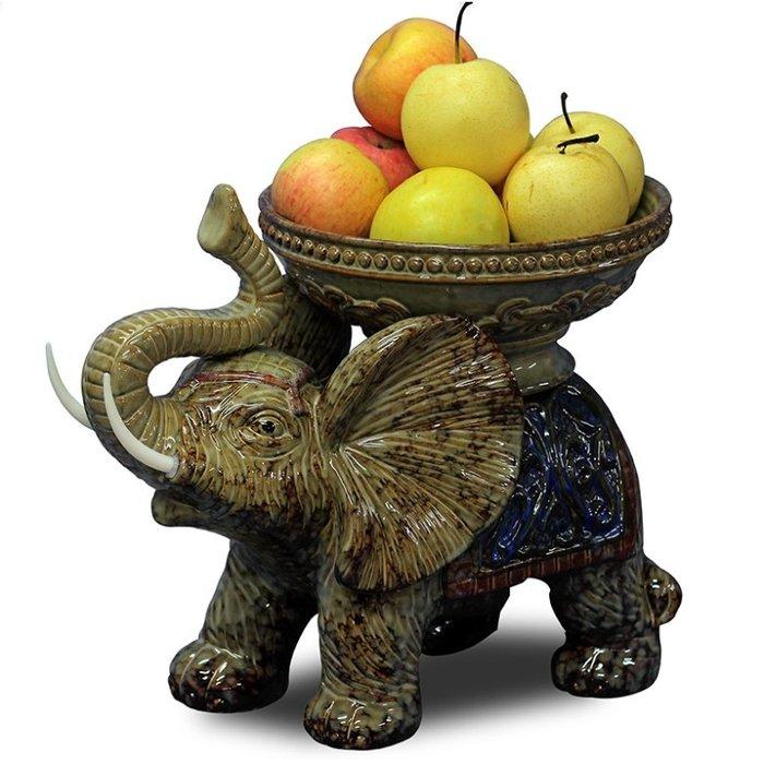 【睿智精品】歐式居家擺設 大象果盆 創意典雅 大象水果盤 餐桌擺設(GA-4751)
