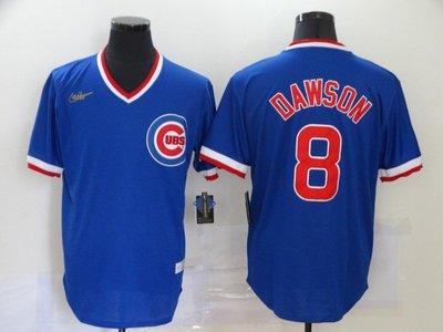 運動專用~MLB棒球服Cubs小熊隊球衣9#BAE 8#DAWSON復古套頭短袖T恤刺繡球衣