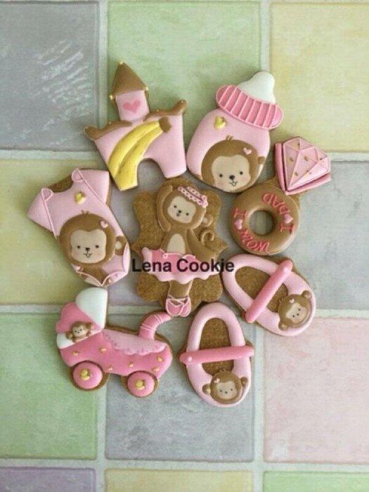可接急單 收涎餅乾 猴寶寶系列 8片 女寶寶  糖霜餅乾 生日禮物 手工餅乾 不挑款(Lena Cookie)