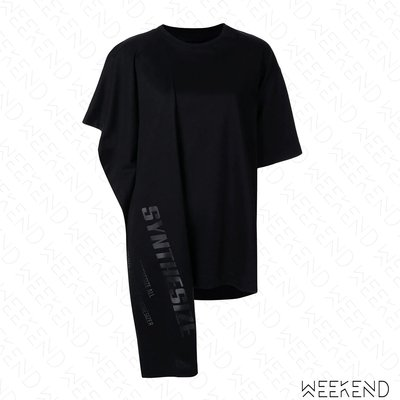 【WEEKEND】 JUUN.J Synthesize 文字 寬鬆 長版 特殊剪裁 短袖 T恤 可當短洋 黑 19秋冬