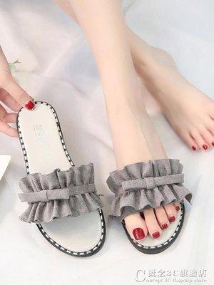 蝴蝶結拖鞋女夏外穿平底網紅涼拖百搭一字仙女鞋