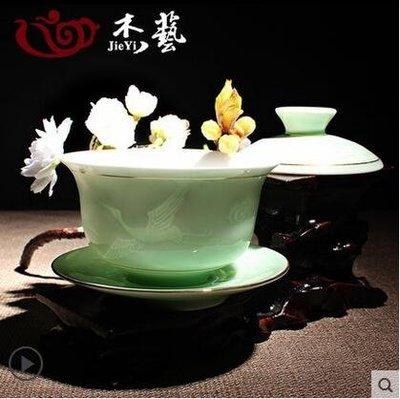 蓋碗茶杯茶具景德鎮青花白瓷三才碗GZG506
