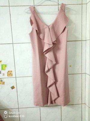 susu高單價日本品牌un cadeau粉紅色荷葉邊斷貨款洋裝