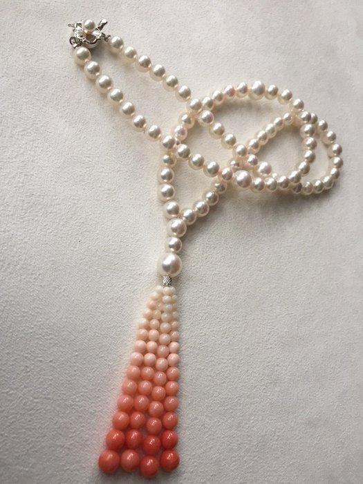 "【Texture & Nobleness 低調與奢華】天然日本珍珠20""珊瑚流蘇造型漸層珠鍊 日本純銀SV扣頭"