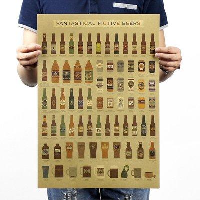 【貼貼屋】復刻啤酒瓶大全 BEER 牛皮紙 海報 壁貼 電影海報 懷舊復古 374
