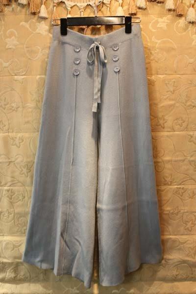 【性感貝貝2館】粉藍色毛料針織寬版喇叭褲