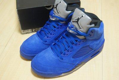 NIKE AIR JORDAN 5 V RETRO AJ5 喬丹五代全藍牛黑火焰麂皮半透明冰底籃球鞋136027-401