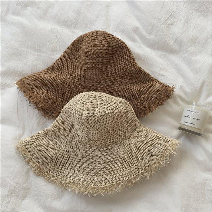 凹造型遮陽毛邊草帽 淺/深 百搭沙灘帽子女   琉璃美衣