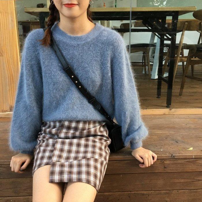 NETSHOP collection 韓國 )定番兔毛料質感毛料 針織 顯瘦上衣 ~4色