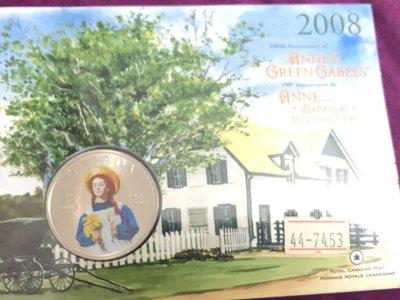 真品評級古幣古鈔收藏加拿大2008年25分彩色白銅幣(specimen,帶封套)