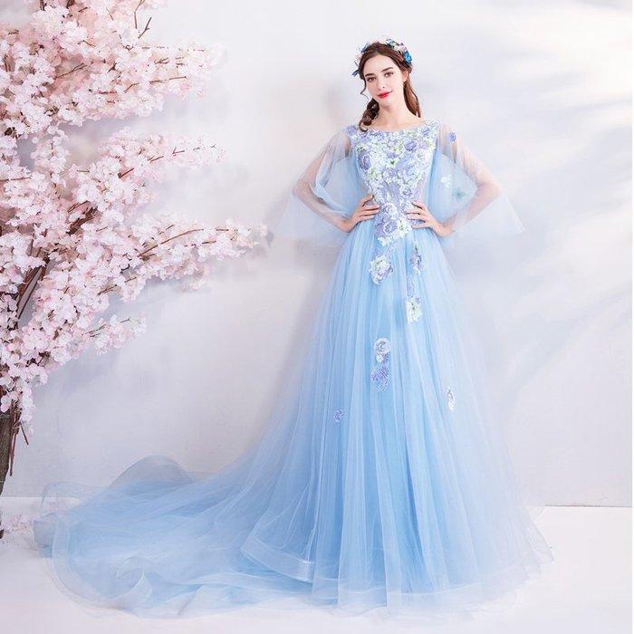 妞妞 婚紗禮服~藍色刺绣披長纱袖婚纱長禮服~3件免郵
