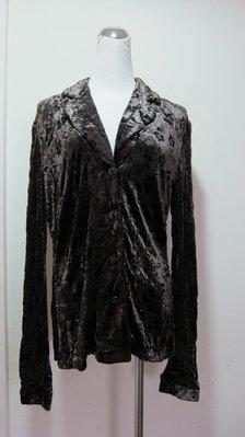義大利名品~DONNAERRE黑咖絲絨質感襯衫---義大利製