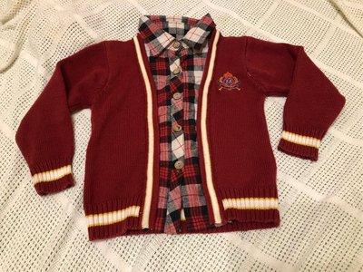 二手童裝 男95~110cm適穿 上衣 紅底 毛衣 襯衫假二件