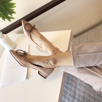 柒柒KR 正韓仙女單鞋女2019新款正韓奶奶鞋粗跟復古軟皮尖頭少女低跟平底鞋女