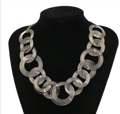 歐美複古飾品 朋克金屬鏈環環相扣造型百搭短款項鏈飾品