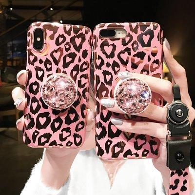 【3C殿堂】iPhone7 iPhone8 Plus i7 i8 防摔 豹紋 軟殼 指環 支架 可愛 掛繩 掛脖 女 鑽