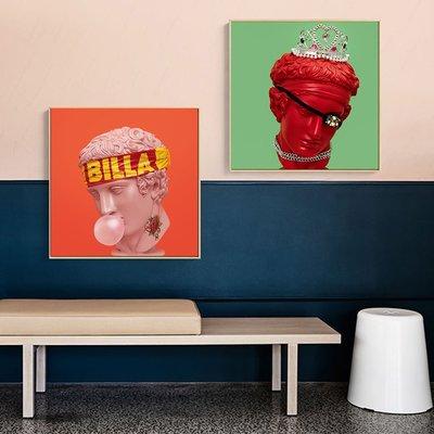 壁畫 米范藝術 石膏雕塑像裝飾畫攝影彩色波普畫ins 現代工作室掛畫