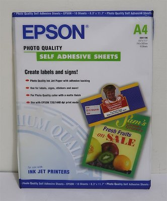 EPSON Photo Quality A4 Self Adhesive Sheets (S041106)10張