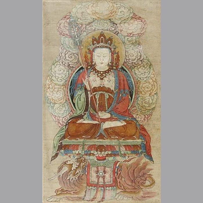 【紀孝莊網上博物館】巨型古佛畫 地藏王菩薩 畫作160x90 連框200x116cm.(受制額限頁示為照片價,實件另議)