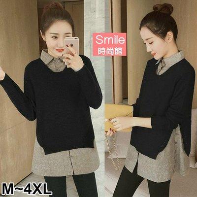 【V2725】SMILE-質感美型.針織拼接假兩件長袖上衣