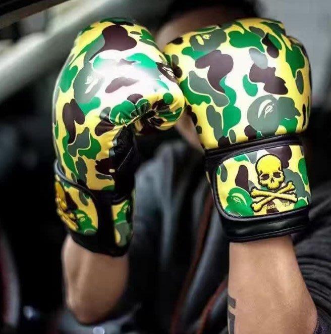 aape bape猿人頭mmj骷髏頭聯名十週年紀念刺繡拳擊手套