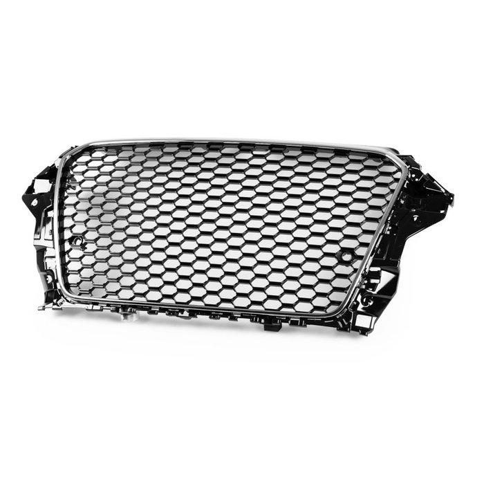 AUDI 奧迪 A3 S3 8V 13-16年 適用 RS3造型 水箱護罩中網水柵 - 鍍鉻+亮黑 GR-49151