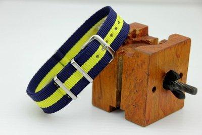 艾曼達精品~20mm Daniel Wellington可用, 藍+黃Nylon Watch Strap 尼龍;NATO 台北市