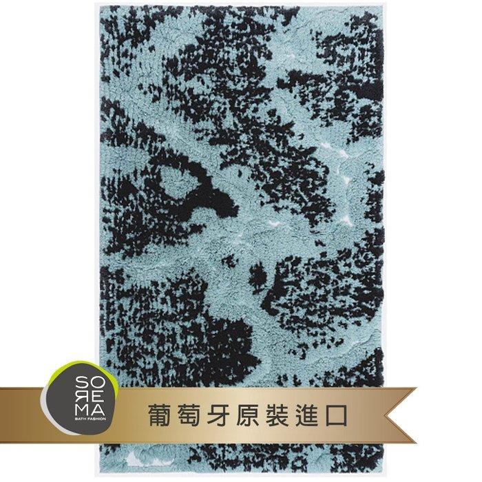 【Sorema 舒蕾馬】奢華時尚-MARBLE銀湖藍 腳踏墊 50x80cm(南歐明星品牌 頂級SPA渡假飯店衛浴品味)