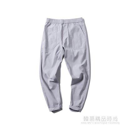 日系夏季薄款亞麻褲男寬鬆男生九分褲子潮寬鬆小腳褲男裝潮