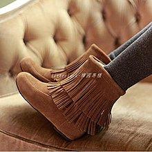 litterluck-韓國專櫃2019秋冬季靴子女短靴內增高流蘇靴磨砂單靴平底女靴子加絨棉鞋女