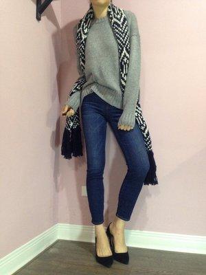 Miolla 英國品牌Jack Wills 黑白配色流蘇款羊毛圍巾