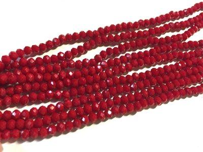 晶御飾品  串珠材料DIY~鮮紅色不透光捷克水晶條珠串3X4mm(買五送一或 )