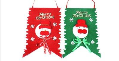 聖誕節裝飾 20CM*30CM雪人紅色聖誕旗 聖誕場景布置裝飾