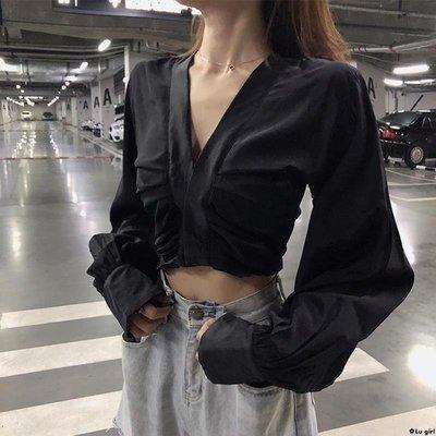 ✿Lu girl V領長袖女士襯衫設計...