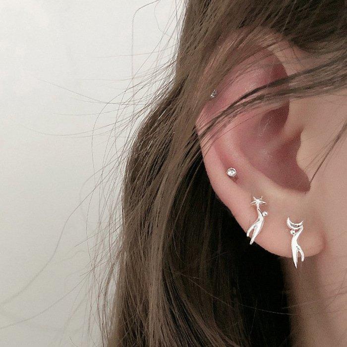 個性 不對稱 星星 月亮 摘星人 簡約 氣質 耳釘 耳環 【SE897】